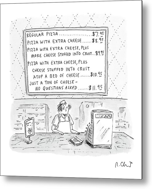 Pizza Metal Print featuring the drawing New Yorker August 14th, 2000 by Roz Chast
