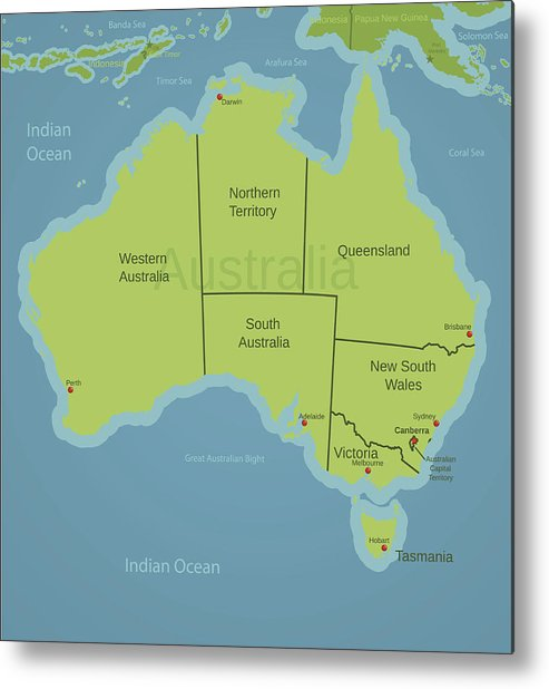 Map Of South Australia And Northern Territory.Australia Map Showing States Metal Print