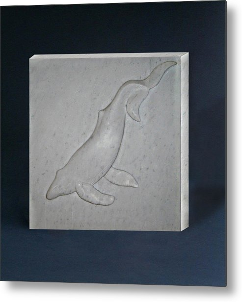 Whale Metal Print featuring the sculpture Humpback Whale by Leslie Dycke