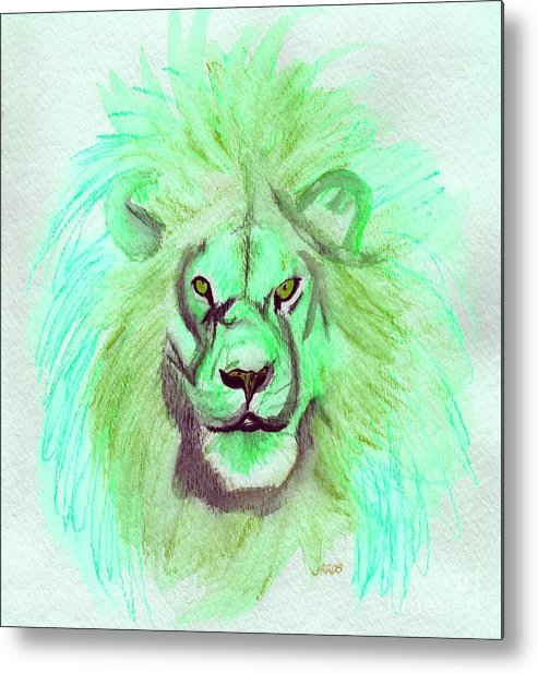Lion Metal Print featuring the painting Lion Blue By Jrr by First Star Art