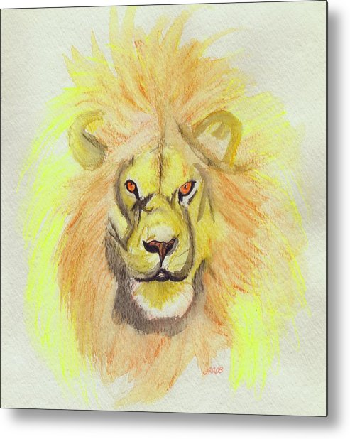 Lion Metal Print featuring the painting Lion Yellow by First Star Art