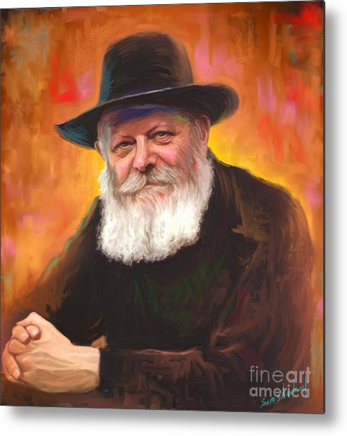 Lubavitcher Rebbe Metal Print featuring the painting Lubavitcher Rebbe by Sam Shacked
