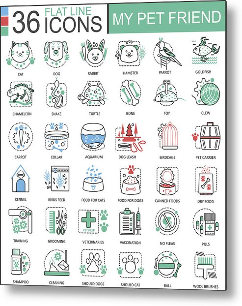 Vector My Pet Friend Flat Line Outline Icons For Apps And Web Design  Pet  Icon Metal Print