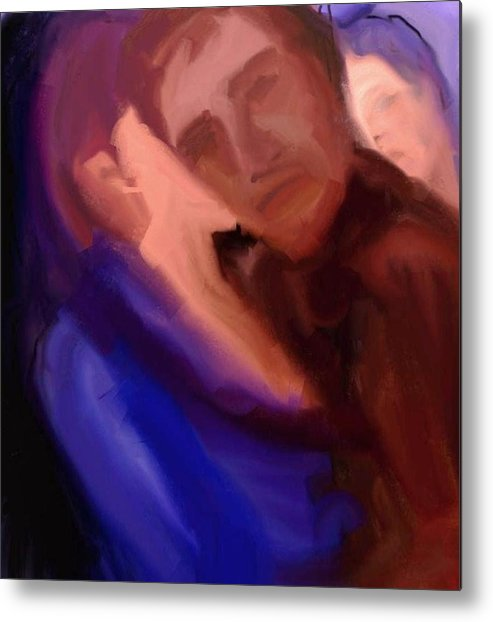 Metal Print featuring the painting Kiss by Jorge Quintanicho