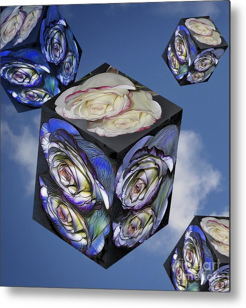 Rose. Reflection Metal Print featuring the photograph Rose Cube by Marianne Troia