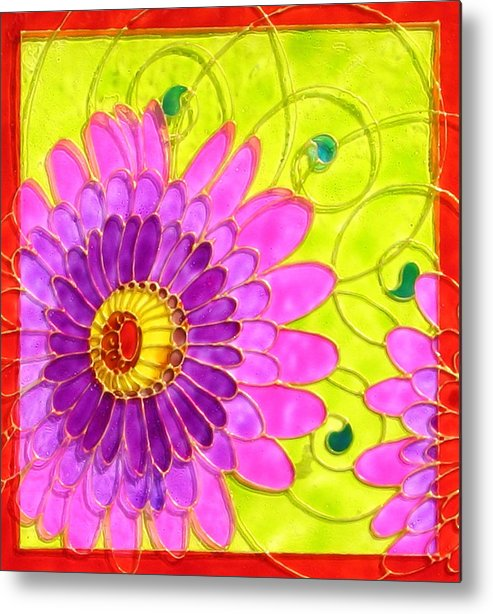 Arabesc Metal Print featuring the painting Arabesc Flower - Panel 2 by Gabriela Stavar