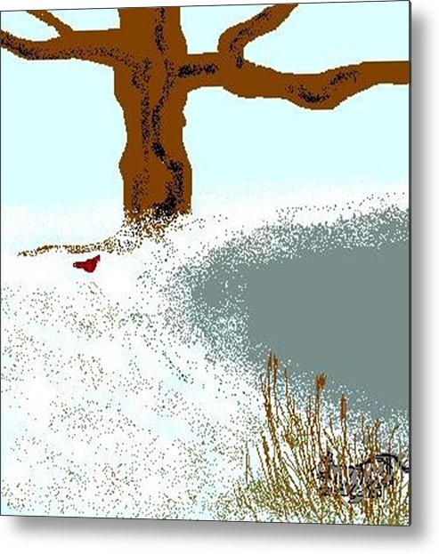 Metal Print featuring the digital art At The Pond by Carole Boyd
