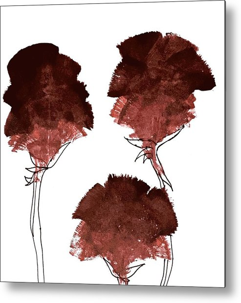 Flowers Red And Black Metal Print featuring the painting Blood Flower Part2 by Fanny