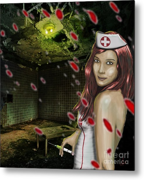 Blood Metal Print featuring the digital art Caotic Nurse by Dr Mador