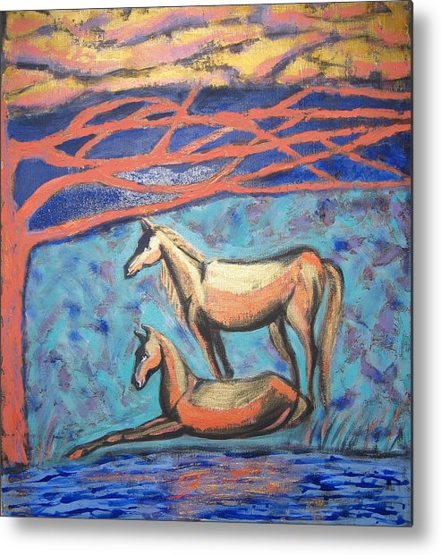 Horse Metal Print featuring the painting Chinook Is Coming by Aliza Souleyeva-Alexander
