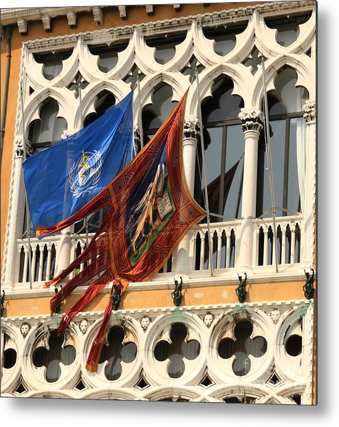 Venice Metal Print featuring the photograph Flags On Palazzo In Venice by Michael Henderson