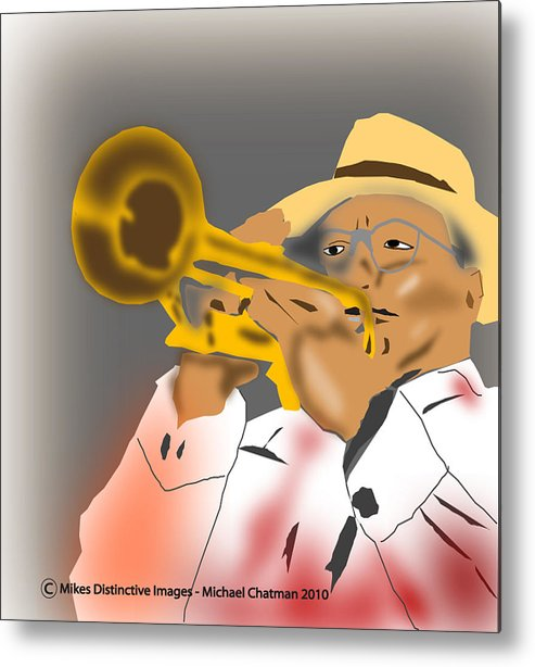 Jazz Trumpeter Metal Print featuring the digital art Jazz Player by Michael Chatman