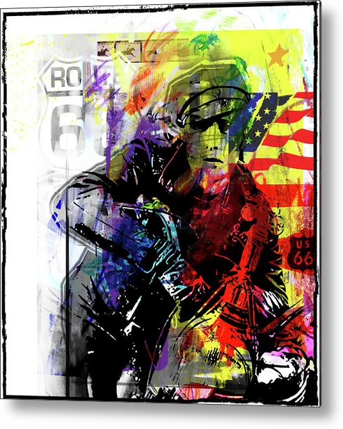 Route 66 Freedom Highway Road Trip Chopper Bike Marlon Brando Hero American Style Flag Stars And Stripes Wild Thing Vintage Modern Digital Decorative Metal Print featuring the digital art Marlon Brando American Hero by Piotr Storoniak