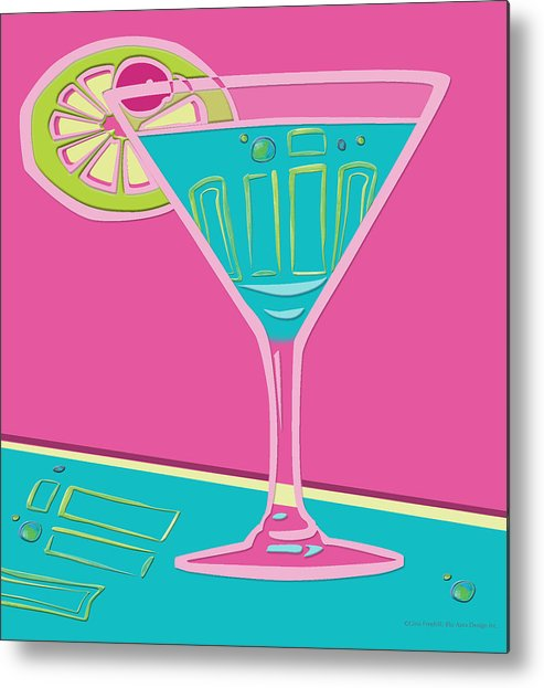 Drinks Metal Print featuring the digital art Martini by Gina Freehill
