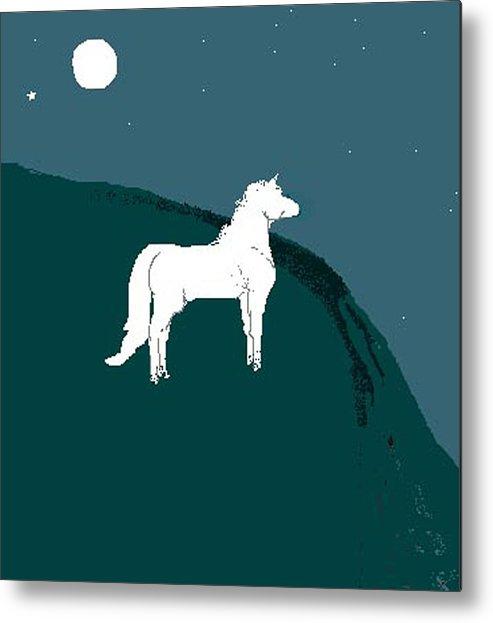 Horse Metal Print featuring the digital art Moonlight by Carole Boyd