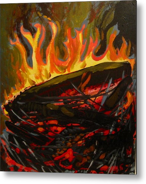 Nest Metal Print featuring the painting Nest On Fire by Tilly Strauss