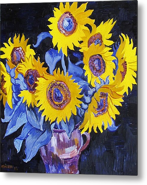 Sunflower Metal Print featuring the painting Nine Sunflowers With Black Background by Vitali Komarov