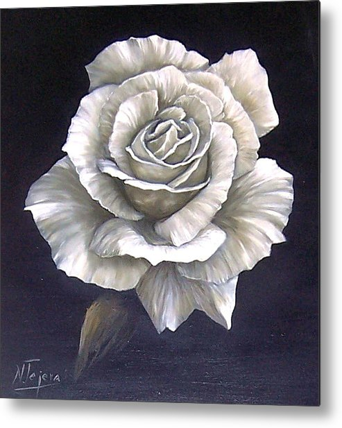 Rose Flower Metal Print featuring the painting Opened Rose by Natalia Tejera