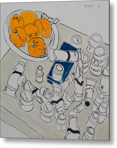 Apricot Metal Print featuring the painting Paints And Apricots by Vitali Komarov