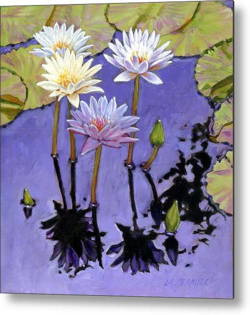 Water Lilies Metal Print featuring the painting Pastel Petals by John Lautermilch