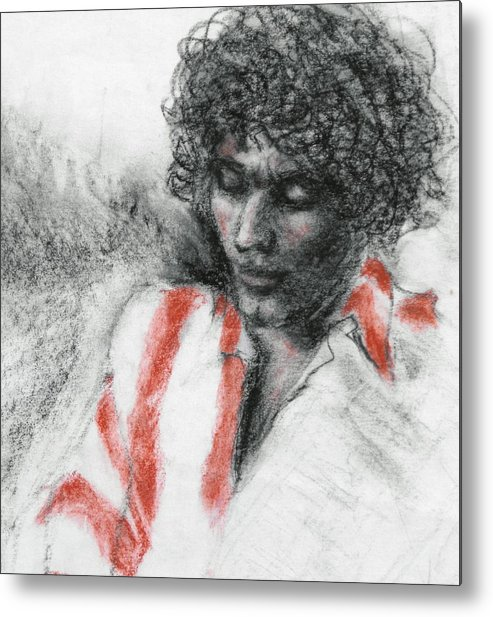 Portrait Metal Print featuring the drawing Red Stripes by Ruth Mabee