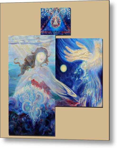 Woman Metal Print featuring the painting Sea Of The Soul by Anne Cameron Cutri