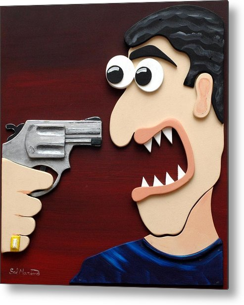 Funism Metal Print featuring the painting Shut Up by Sal Marino
