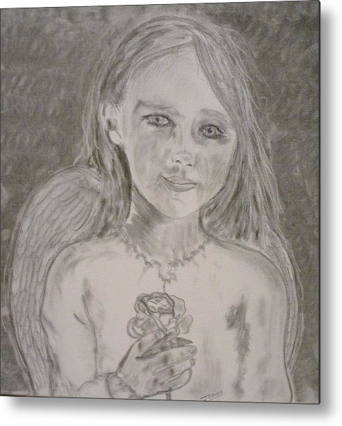 Angels Metal Print featuring the drawing Silvia by J Bauer