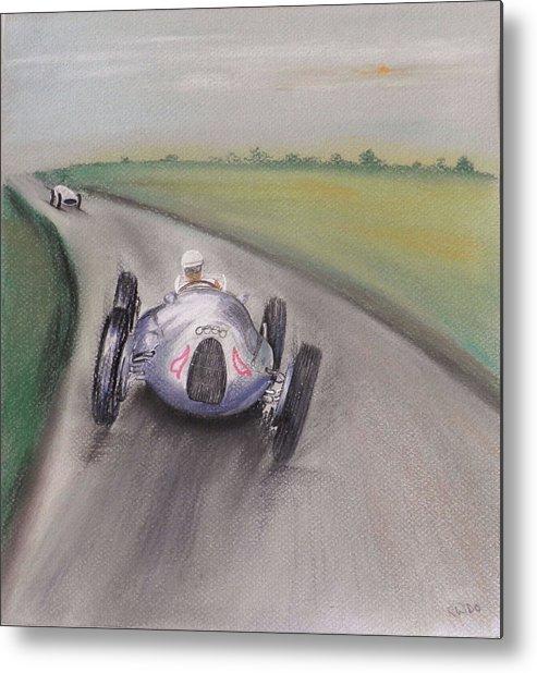 Real Motor Racing Metal Print featuring the pastel Tazio Italia by Gordon Ogilvie