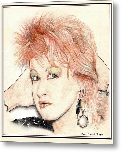 Female Metal Print featuring the drawing The Cyndi Lauper by Dan Clewell
