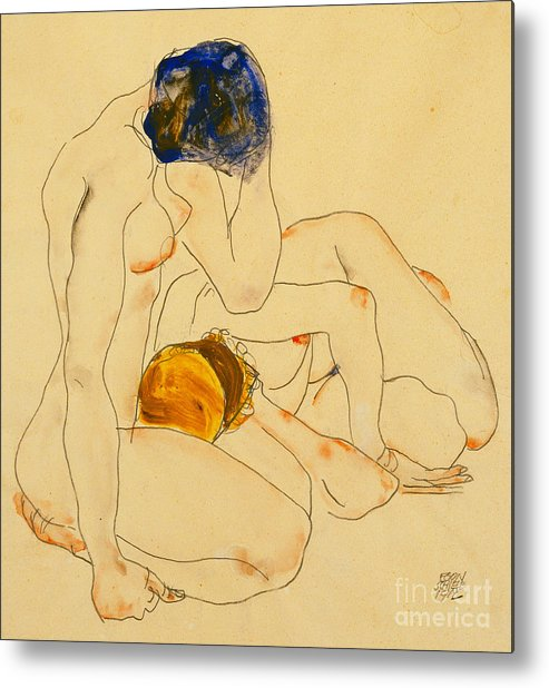 Egon Schiele Metal Print featuring the painting Two Friends by Egon Schiele
