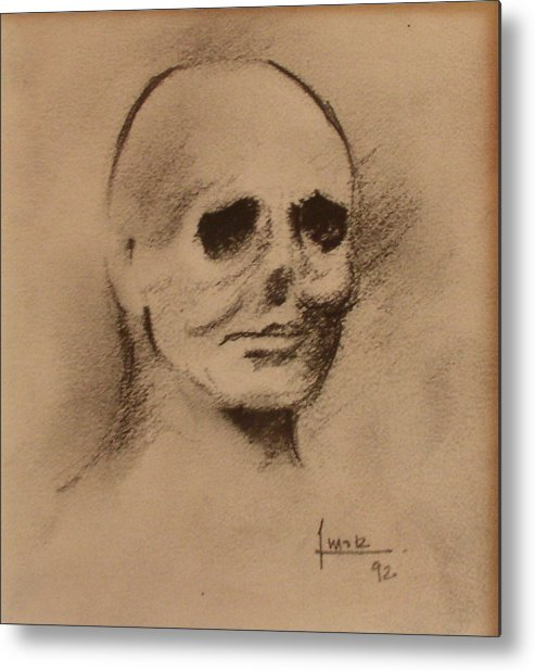 Face Metal Print featuring the drawing Untitled by Victor Amor