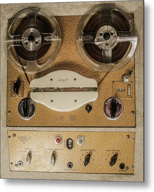Machines Metal Print featuring the photograph Vintage Tape Sound Recorder Reel To Reel by Tom Conway