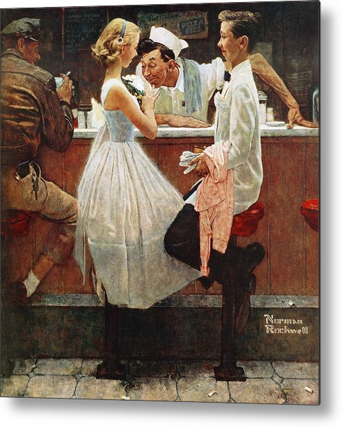Corsage Metal Print featuring the drawing After The Prom by Norman Rockwell