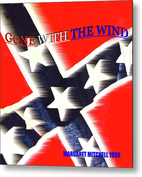Gone With The Wind By Margaret Mitchell Metal Print featuring the mixed media Gone With The Wind Minimalism Book Cover Art by David Lee Thompson