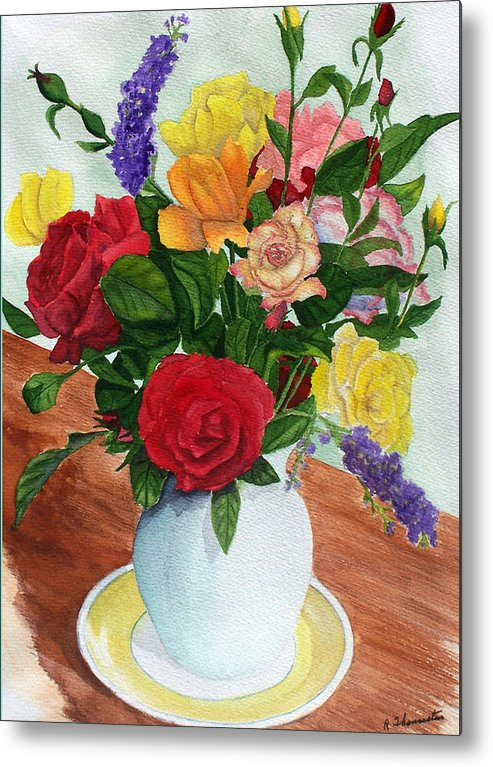 Floral Metal Print featuring the painting Flowers On A Cat Dish by Robert Thomaston