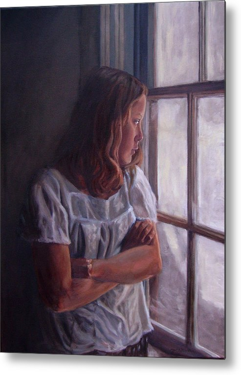 Woman At Window Metal Print featuring the painting Waiting by Tahirih Goffic