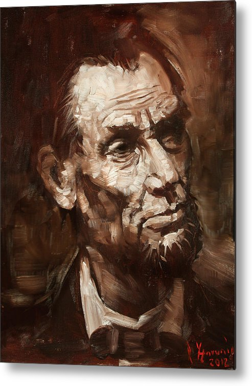 Abraham Lincoln Metal Print featuring the painting Abraham Lincoln by Ylli Haruni