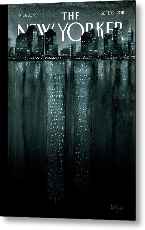 Trade Center Metal Print featuring the painting Reflections by Ana Juan