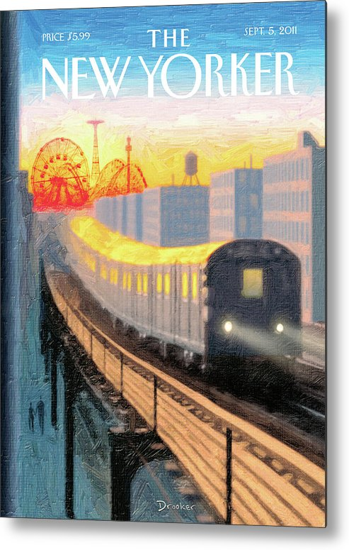 Coney Island Metal Print featuring the painting Coney Island Express by Eric Drooker
