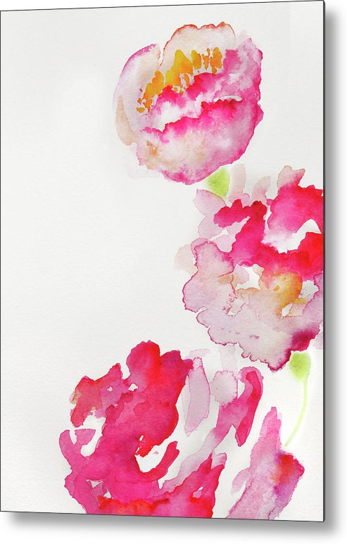 Art Metal Print featuring the photograph Abstract Watercolour Flowers by Kathy Collins
