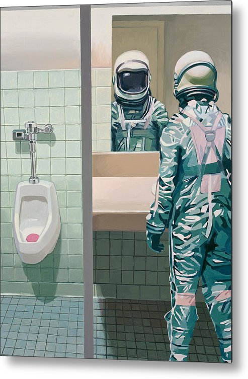 Astronaut Metal Print featuring the painting Men's Room by Scott Listfield