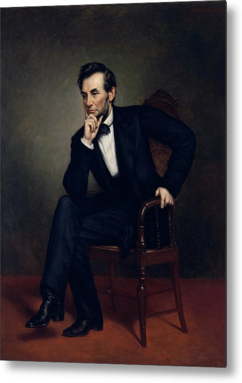Abraham Lincoln Metal Print featuring the painting President Abraham Lincoln by War Is Hell Store