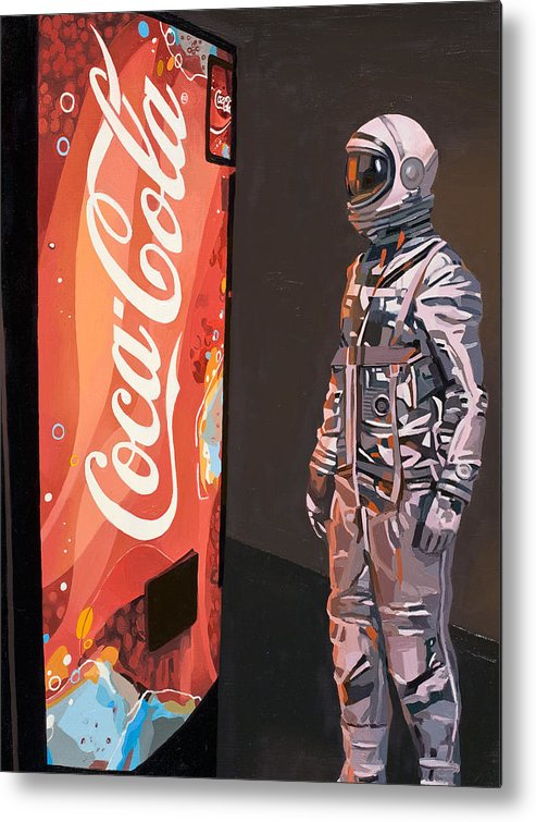 Astronaut Metal Print featuring the painting The Coke Machine by Scott Listfield
