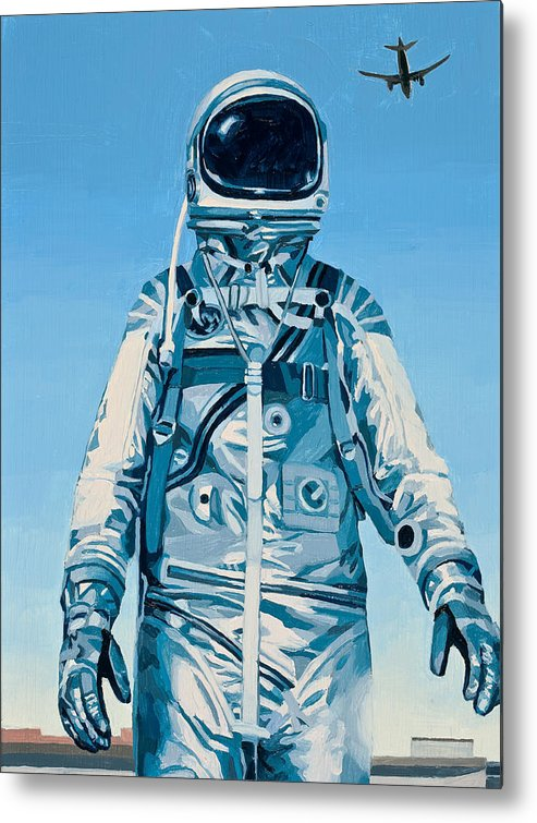 Astronaut Metal Print featuring the painting Under the Flight Path by Scott Listfield