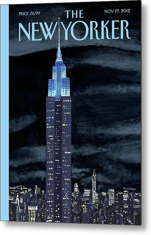 New York City Metal Print featuring the painting Rhapsody In Blue by Mark Ulriksen