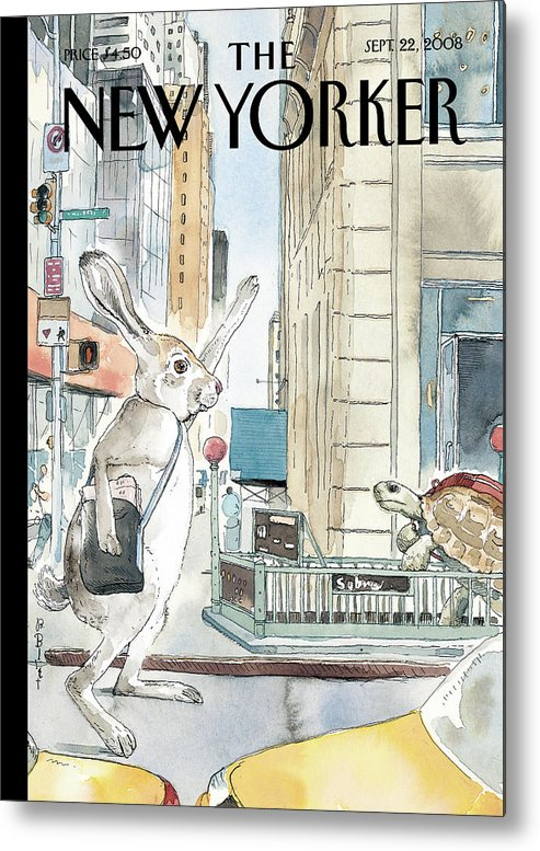 Tortoise Metal Print featuring the painting New Yorker September 22nd, 2008 by Barry Blitt