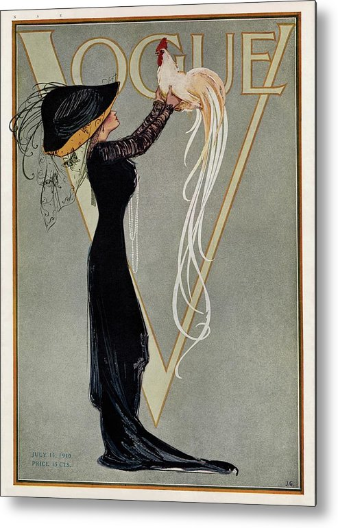 Fashion Metal Print featuring the painting Vintage Vogue Cover Of Woman With Rooster by Artist Unknown