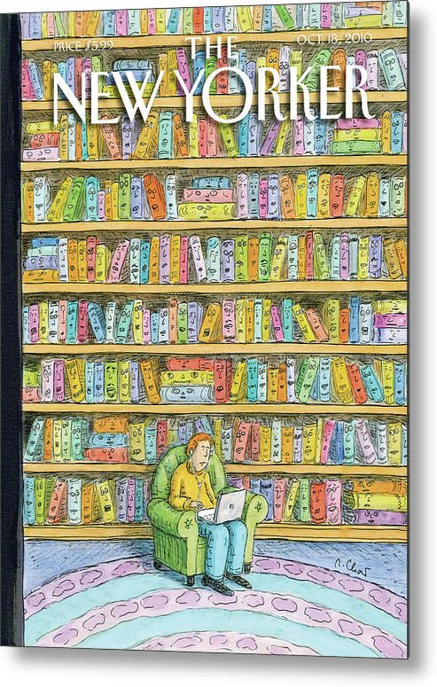 Computer Metal Print featuring the painting Shelved by Roz Chast