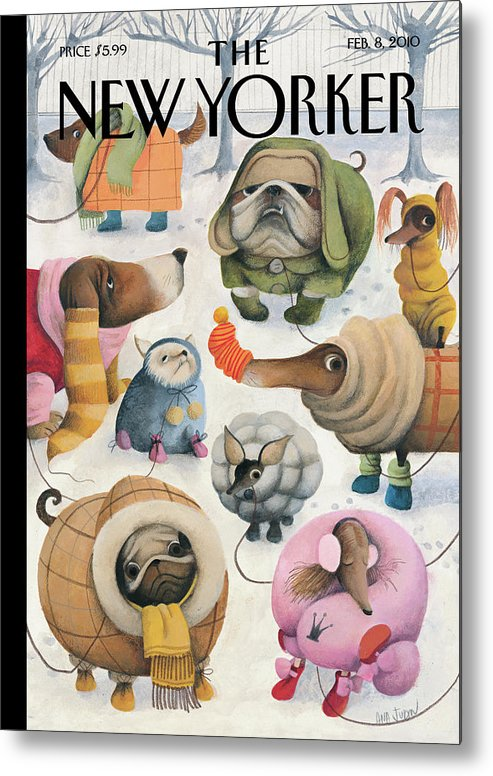 Baby It's Cold Outside Metal Print featuring the painting Baby, Its Cold Outside by Ana Juan
